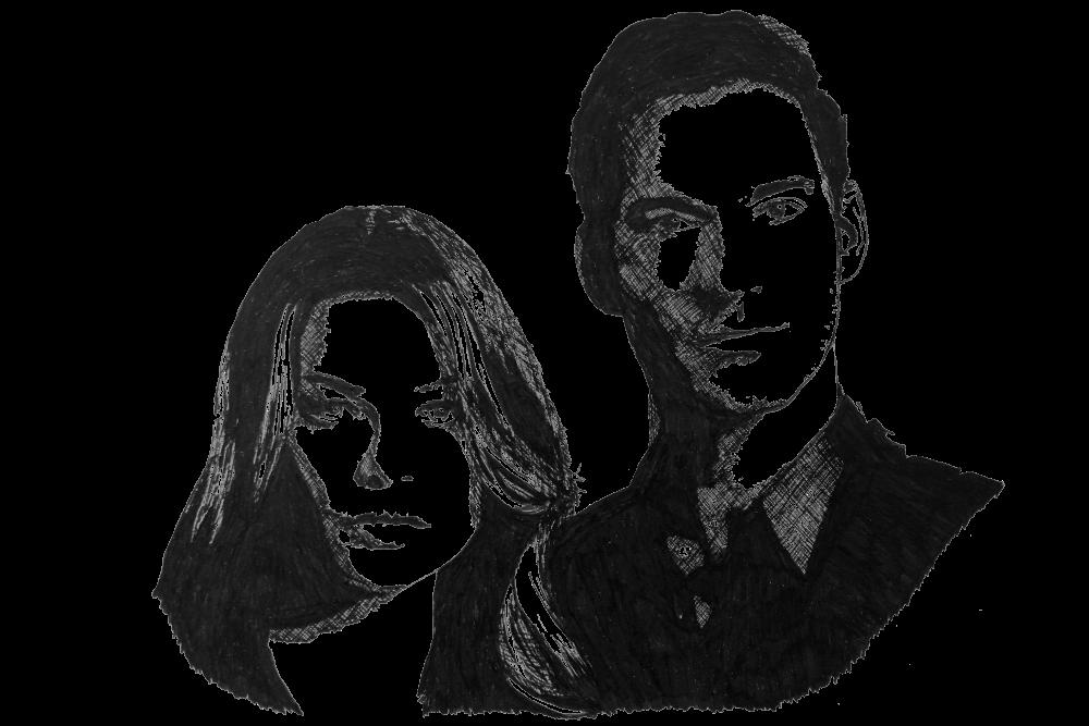 Zeichnung von Lucifer und Chloe | © Wulf Bengsch